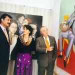 H.E Rodolfo J. Martin-Saravia Argentine Ambassador to Pakistan, Dr Shahzad Waseem Adviser to Chairman Pakistan Tehreek-e-Insaf with Argentinian painter Ms Maria Martha Pichel.