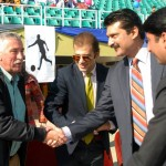Senator Dr Shahzad Waseem being received at #BeaconHouse Football tournament final — with Mr Nassir Kasuri at Pakistan Sports Complex.