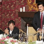 PTI Leader/ Former Senator Dr Shahzad Waseem speaking at reception in honor of Former Australian High Commissioner Ms Zorica Mccarthy at his residence. — with Imran Khan (official).