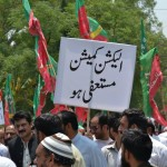 Pakistan Tehreek-e-Insaf workers protesting against Election Rigging.