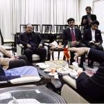 Chairman PTI Imran Khan with Dr Shahzad Waseem meeting Ambassador of Iran