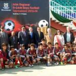 Senator Dr Shahzad Waseem along with H.E J Martin-Saravia, Ambassador of the Argentine, H.E Sher Ali Jononov, Ambassador of Tajikistan, and Mr Nassir Kasuri at #Beaconhouse Inter Regional #football tournament final. — at Pakistan Sports Complex.