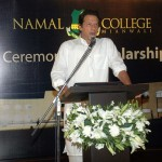 Imran Khan talking to the guests at launch ceremony of scholarship fund for NAMAL College at his residence.