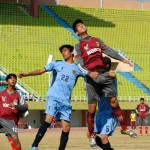 Players of #BSS Central and Northern Region competing for the trophy at the final of BSS Inter regional football tournament. — at Pakistan Sports Complex.