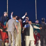 Chairman PTI Imran Khan has arrived on stage