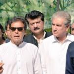 Chairman PTI Imran Khan talking to media after Islamabad Lock-Down task force meeting at bani gala.
