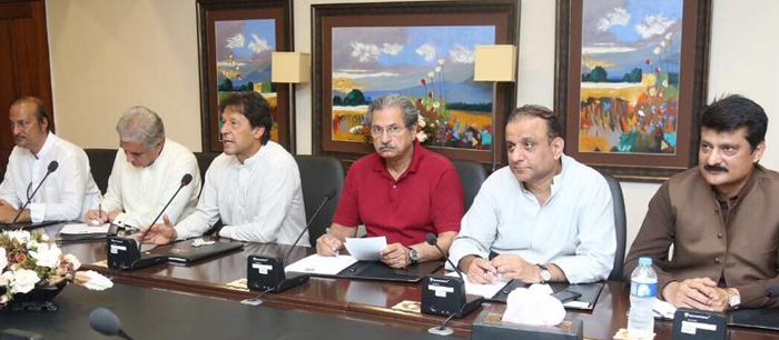 Chairman PTI Imran Khan presiding consultative meeting of party leaders at Bani Gala. 01