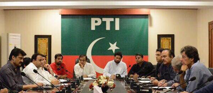 Chairman PTI Imran Khan presiding strategy meeting at Bani Gala. 03
