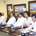 Chairman Pakistan Tehreek-e-Insaf Imran Khan chairing PTI consultative meeting at Bani Gala on current political situation