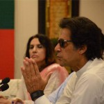 Chairman Pakistan Tehreek-e-Insaf Imran Khan chairing PTI consultative meeting at Bani Gala on current political situation