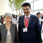 Dr Shahzad Waseem with Ms Irina Bokova, Director General UNESCO, pose for a photo after a meeting at 2nd Baku Forum, Azerbaijan.