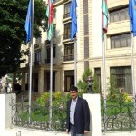 Dr Shahzad Waseem standing at the front of the hotel during his Visiti of Shaki City situated in northwestern Azerbaijan