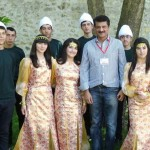 Local Folk Artists posing with Dr Shahzad Waseem at Caravan Sarai Shaki city.