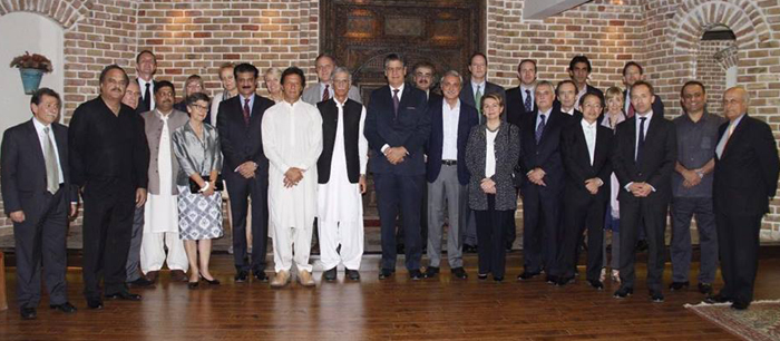 Dr Shahzad Waseeem hosted dinner for Chairman ‪PTI‬ Imran Khan with European ambassadors at his residence - FE