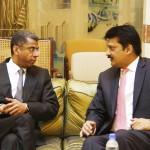 Former Senator and Adviser to Chairman PTI Dr Shahzad Waseem condoling the death of King Abdullah in meeting with Saudi Ambassador Mr. Jassim M. Al-khalidi.