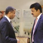 Saudi Ambassador Mr. Jassim M. Al-khalidi receiving Dr Shahzad Waseem at Saudi Embassy.