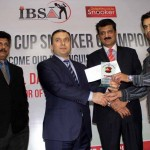 Chief guest H.E. Mr. Dashgin Shikarov presenting shield and cash prize to Mr. Yasir Nadeem, runners up of 4th Islamabad Snooker Championship.