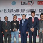 Group photo of Chief guest H.E. Mr. Dashgin Shikarov, Dr Shahzad Waseem IBSA officials and finalists of 4th Islamabad Snooker Championship.