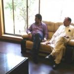 Dr Shahzad Waseem at PTI Gulberg office with Azam Swati and Tanzila Khan.