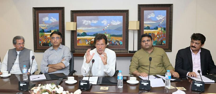 Dr Shahzad Waseem attending media strategy meeting presided by Chairman PTI Imran Khan at Bani - P