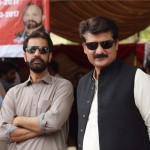 Dr Shahzad Waseem in a protest by PTI