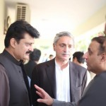 Dr Shahzad Waseem in discussion with Jahangir Khan Tareen and Abdul Aleem Khan at PTI Chairman's secretariat