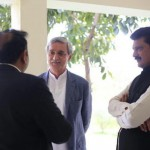 Dr Shahzad Waseem with Chairman PTI Imran Khan and party leaders at bani gala