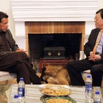 Assistant Minister of Communist Party of China International Department Mr Li Jun with Chairman Pakistan Tehreek-e-Insaf Imran Khan.