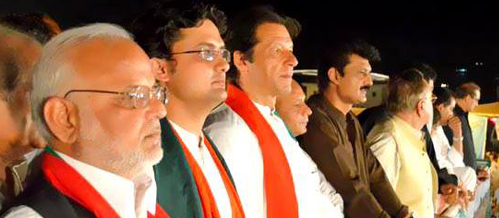 Dr Shahzad Waseem with Imran Khan PTI at Azadi Dharna Azadi Square - FE