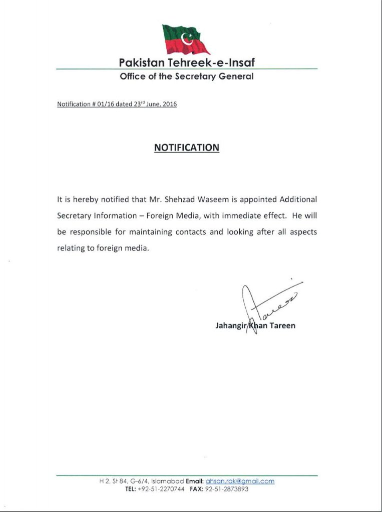 Dr Shahzad Wasseem appointed as PTI Additional Secretary Information - Foreign Media