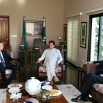 Outgoing Chinese Ambassador Sun Weidong called on Chairman PTI Imran Khan at bani gala. Central Secretary for Foreign Affairs Dr Shahzad Waseem and Naeem ul Haq were also present at the occasion. Chairman Imran Khan appreciated Chinese success on poverty alleviation and apprised ambassador on development initiatives taken by KP Govt.
