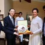 Exchange of souvenirs in meeting between outgoing Chinese Ambassador H.E. Sun Weidong & Chairman PTI Imran Khan.
