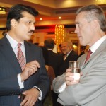 Dr Shahzad Waseem advisor to Chairman PTI and American Ambassador H.E. Mr Richard Olson in discussion at a diplomatic reception in Islamabad — in Islamabad.