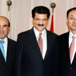 Group photo of Dr Shahzad Waseem, advisor to Chairman PTI, with Chinese Ambassador H.E. Mr. Sun Weidong and Syrian Ambassador H.E. Dr Ali Muhra at Pak-China friendship reception in Islamabad — in Islamabad.