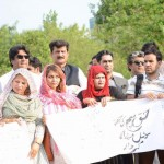 Protest in front of Islamabad Press Club against curbing of freedom of expression through social media. PTI